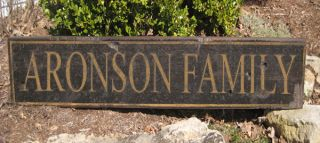 Aronson Family Name Sign Personalized Lastname Painted Wooden Sign