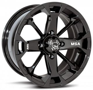 MSA Elixir ATV Wheels Rims Black 12 Polaris Sportsman RZR Ranger 4