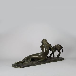Antique Art Deco Bronze Girl and Lamb by Ary Jean Leon Bitter