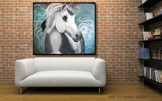 Paint Pinto Native American War Pony EQUINE ART Western ORIGINAL