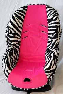BABY CAR SEAT COVER FITS BRITAX ROUNDABOUT. ZEBRA/HOT PINK. SOFT