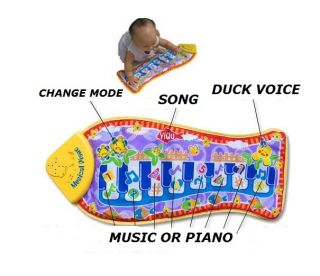 Pre School Kids Touch Music Singing Piano baby Toys Gym Play Mat Fish