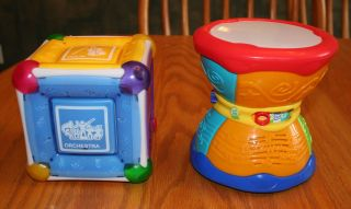 Lot of 2 Music Baby Toys Munchkin Mozart Magic Cube Leap Frog Drum