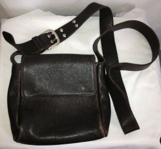 Roots Canada Dark Brown Leather Cross Body Bag Purse Made in Canada