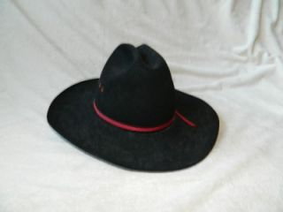 Vintage Bailley Black Western Cowboy Hat Beaver 5X Size 7 1 4 Made in
