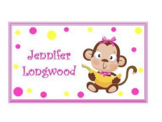 Baby Girl Monkey Enclosure Cards Gift Tags Personalized