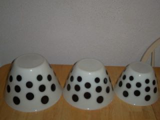 Vintage Anchor Hocking Fire King Black White Polka Dot Mixing Nesting