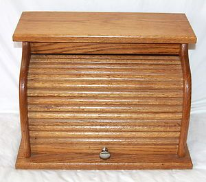Large Solid Wooden Oak Kitchen Roll Top Bread Box Nice