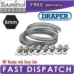 Draper 8mm Adjustable Stainless Steel Universal Long Pipe Hose Clip
