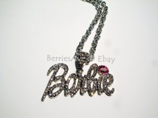 Nicki Minaj 2 Barbie Iced Out Necklace Silver White Pink Lip