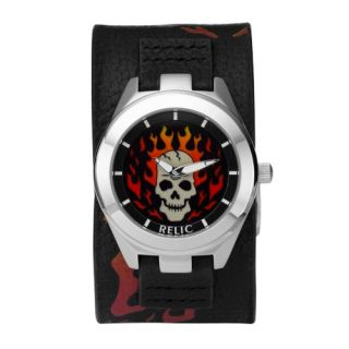 Relic Black Leather Fire Skull Digital Animation Dial Mens Watch