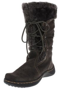 Bare Traps New Elicia Gray Suede Faux Fur Lined Mid Calf Boots Shoes