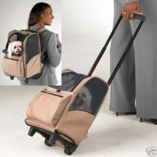 Casual Canine Tan Deluxe Backpack Pet Carrier on Wheels