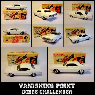 VANISHING POINT BARRY NEWMAN WHITE DODGE CHALLENGER CODE 3 AND DISPLAY
