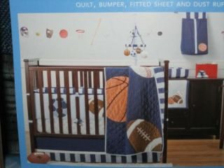 Mod Pod BABY BOY Baseball Quilt CRIB Bed BEDDING SET Football ModPod