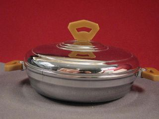 Bartsch Childs Covered Warming Dish Chrome Bakelite