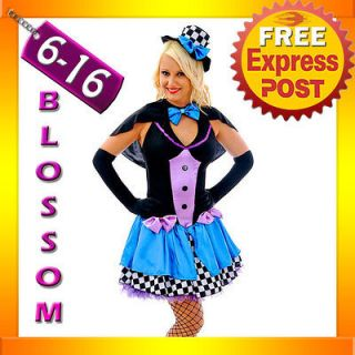 F85 Ladies Mad Hatter Fancy Dress Up Tea Party Alice In Wonderland