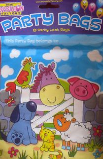 PARTY BAGS BOY BIRTHDAY CAKE PACK OF 8 SCHOOL FRIENDS FARM ANIMALS