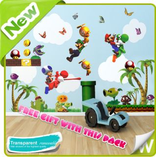 New Super Mario Wall Stickers Tree Decal Mural Decor Nursery Kids Boys