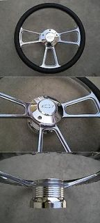 CHEVY horn billet steering wheel + adapter 4 Chevy Ididit GM Flaming