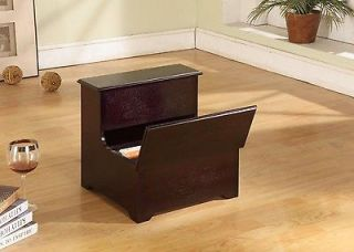 Kings Brand Cherry Finish Wood Bed Bedroom Step Stool With Storage
