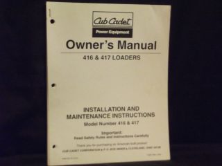 cub cadet owners manual 416 417 loaders original time left