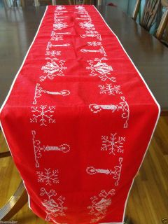 7ft long Christmas Table Runner Embroidered White on Red Vintage 88x14