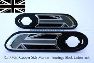 2002 2006 R53 Mini Cooper s Side Marker Housings Black Union Jack