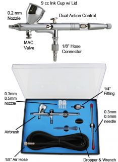 Pro Dual Action Airbrush Kit Set Gravity Feed w 3 Tips