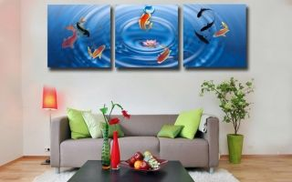 Abstract Art Oil Painting Wall Decor Cute Fish No Frame