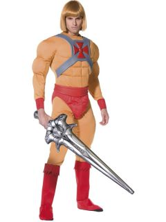 He Man Mens Fancy Dress Superhero 80s Muscle Costume Outfit Sword New