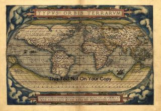 Large A1 Abraham Ortelius Repro Old Antique World Map