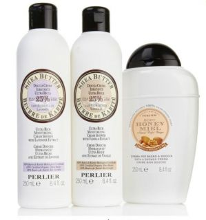 Perlier Bath and Shower Cream Variety Trio Honey Shea Butter Lavender