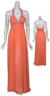 Aidan Mattox Fresh Coral Beaded Chiffon Long Halter Evening Gown Dress
