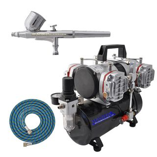 Multi Purpose Dual Action Airbrush Kit Set Pro 4 Cylinder Piston Air