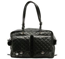 Bo Pet Royalty Dog Carrier Alex Black Quilted Leather Large
