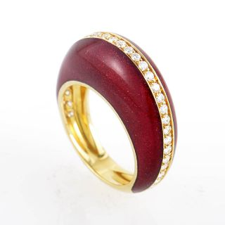 Alessandro Fanfani 18K Yellow Gold Red Enamel & Diamond Ring