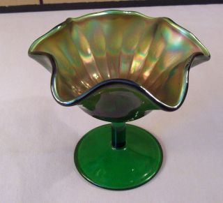 Emerald Green Carnival Glass Footed Compote Candy Dish Stippled or