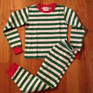 Hanna Andersson Red Green White Stripe Christmas Holiday Long John
