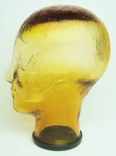 Amber Glass Art Deco Womens Head Hat Stand Wig Stand