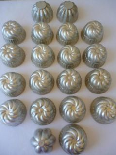 20 Vintage Mini Aluminum MOLDS Tin Metal Fluted Jell O Type Baking