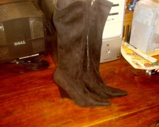 Anne Michelle Knee High Wedge Heel Boots Sz 7 Black