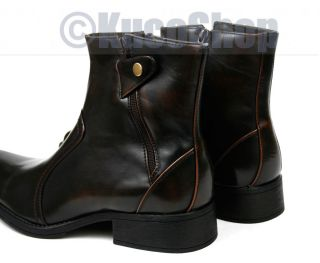 Men Ankle Boots Shoe Italian Style Brown Double Zip 8
