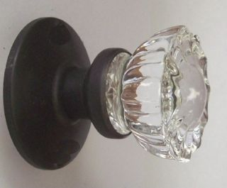 Crystal Glass FRENCH DOOR Dummy Knob set for both sides of one doors