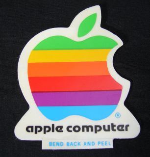 Vintage Early 80s 2 Apple Computer Sticker Free s H