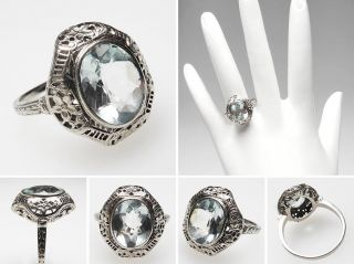 Antique Art Deco Natural Aquamarine Cocktail Ring Solid 14k White Gold