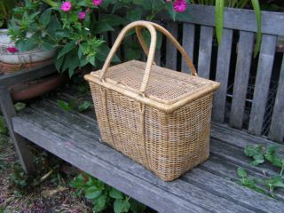 vintage cane fishing creel carry basket from australia time left