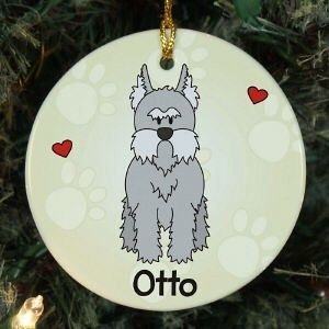 PERSONALIZED LOVED BY MY MINI SCHNAUZER PET DOG CERAMIC CHRISTMAS TREE