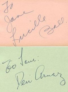 LUCILLE BALL & DESI ARNAZ 2 EACH VINTAGE 1930s SIGNED ALBUM PAGES