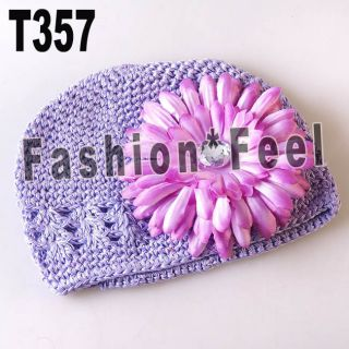 Baby Boy Girls Crochet Beanie Hat Caps Baby Peony Flower Clip 12 Color